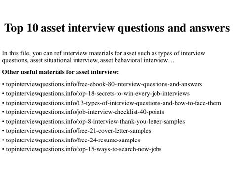 top 10 asset questions and answers