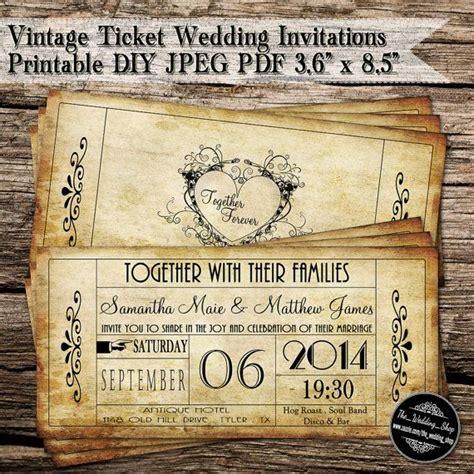 vintage ticket wedding invitations printable diy jpeg