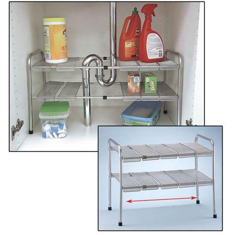 kitchen cabinet dish organizers 2 tier expandable adjustable under sink shelf storage