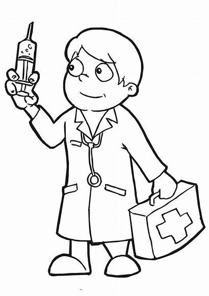Doctor Coloring Pages Doctors Holding Needle Clipart
