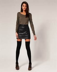 Leather mini skirt outfit ideas
