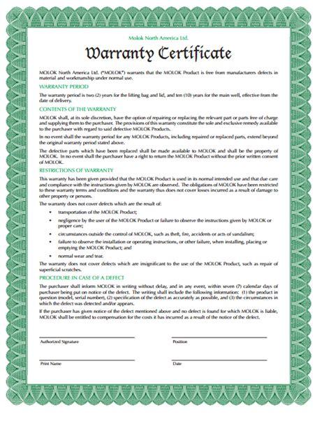 warranty certificate templates  sample templates