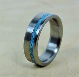 Wedding ring titanium with turquoise ring titanium ring for Mens turquoise wedding rings