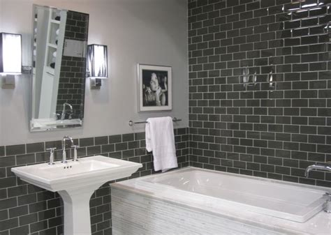 tub surround glass subway tile and white marble on