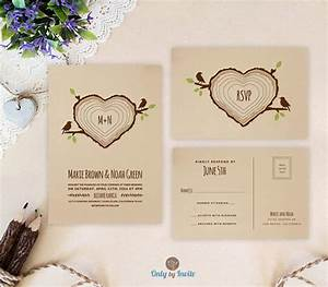 heart shaped tree stump wedding invitation with rsvp rustic With tree stump wedding invitations