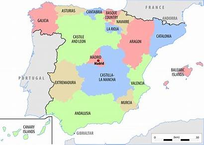 Spain Map Political Countries Country Maps Autonomous