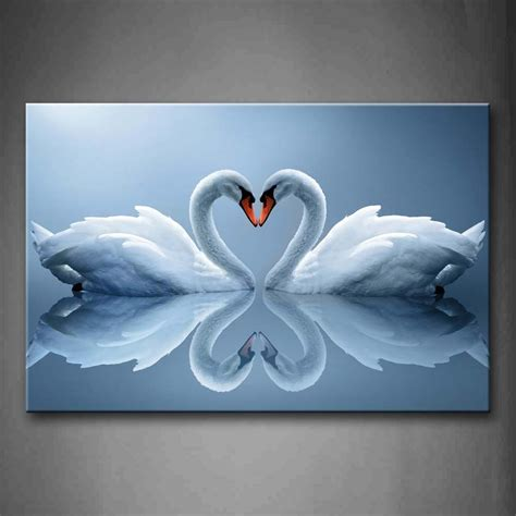 swans    heart reflected  water wall art