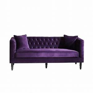 flynn french inspired purple velvet upholstered sofa With purple velvet sectional sofa