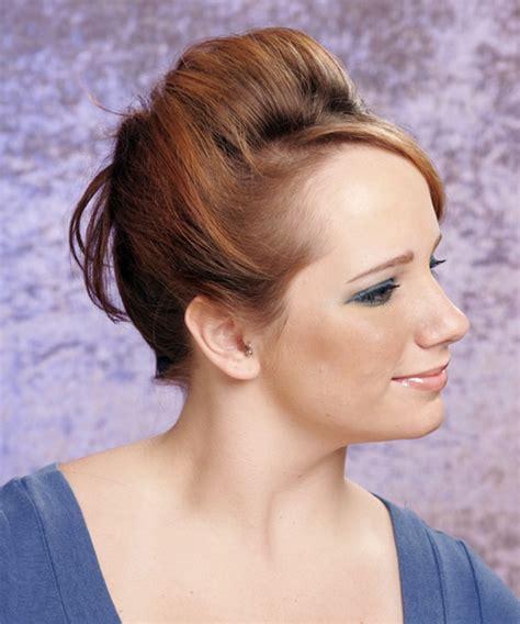 long straight light copper brunette updo  side swept bangs