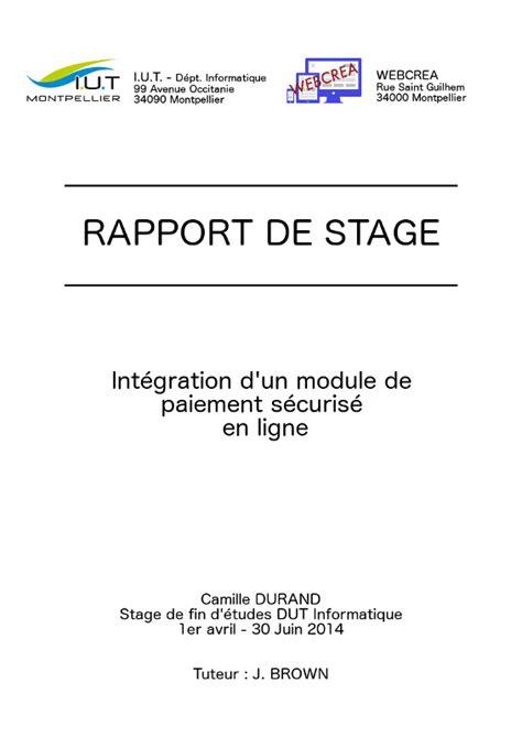 rapport de stage en cuisine exemple exemple de rapport de stage
