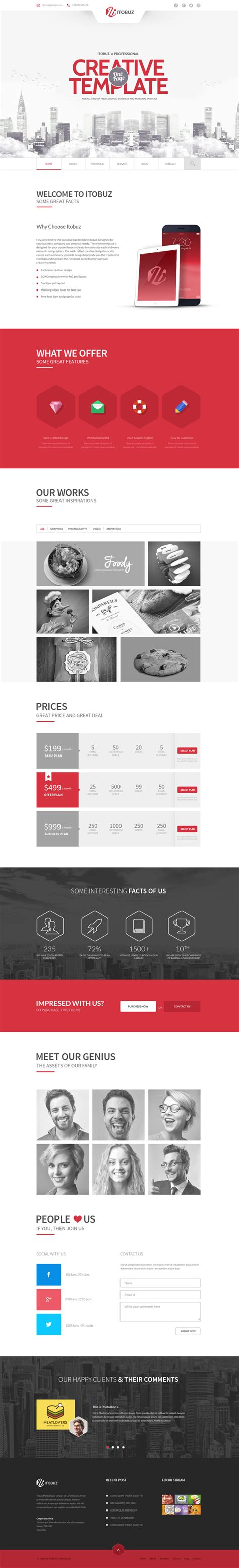 One Page Website Template Html5 One Page Website Templates With Ui Ux Experience