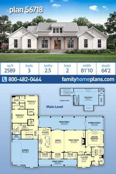 Country Farmhouse Ranch House Plan 60106 with 3 Beds 2