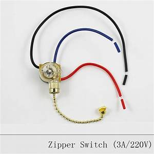 Lamp Pull Chain Zipper Switch Ceiling Light Wall Lamp Switch Ceiling Fan Switch 3 Wire Double