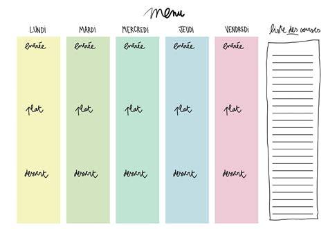 Sur www.e sante des idées de menus. Un planning de repas vierge à télécharger pour composer et ...