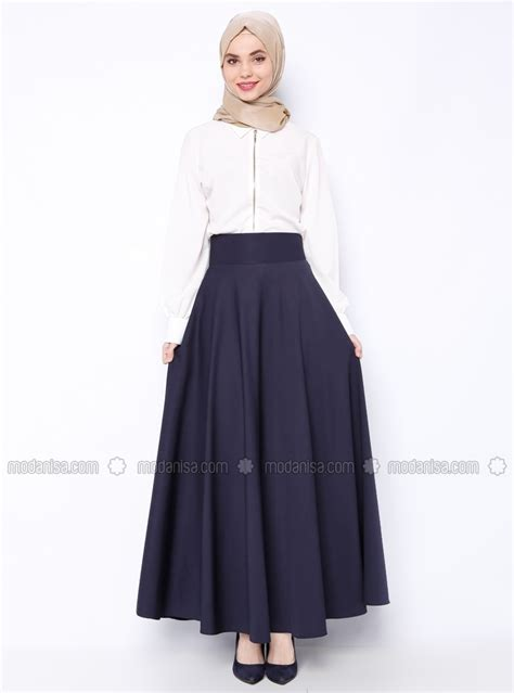 plain a line skirt simply a flared skirt navy blue skirts modanisa
