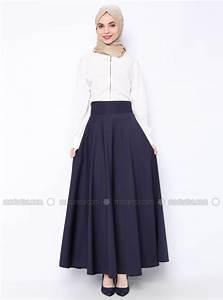 flared skirt navy blue veteks line With modanisa robe longue