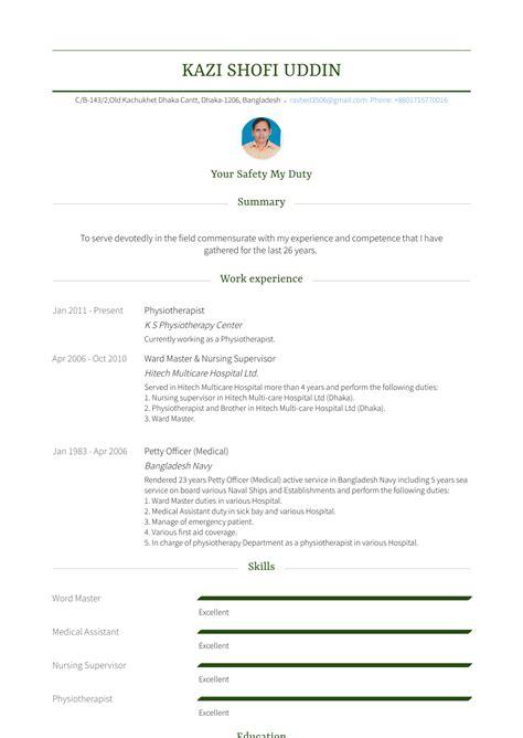 physiotherapist resume samples templates visualcv