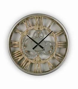 Horloge En Metal : horloge murale ronde en m tal et bois rouages 60cm ~ Teatrodelosmanantiales.com Idées de Décoration