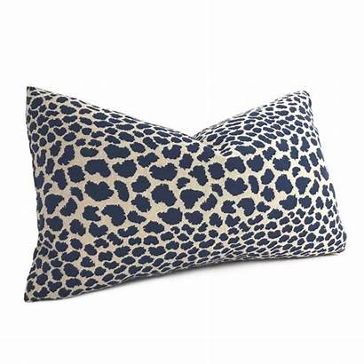 Leopard Animal Navy Pillow Beige Spots Designer
