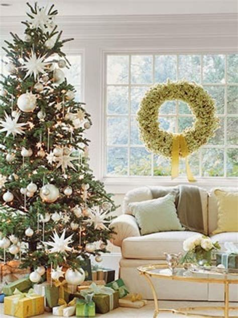 interior fancy design using tree with white hanging bauble and hanging