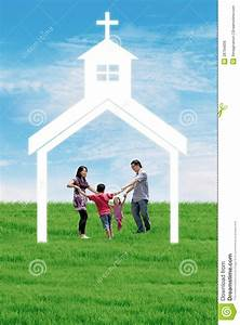 Christian family at church stock illustration. Image of ...