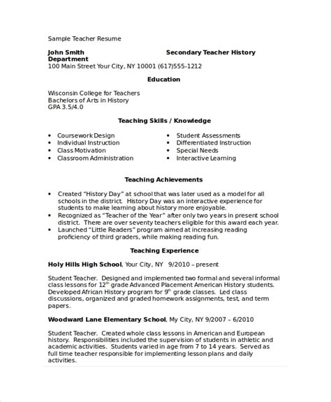 Academic Resume Template by Academic Resume Template 6 Free Word Pdf Document