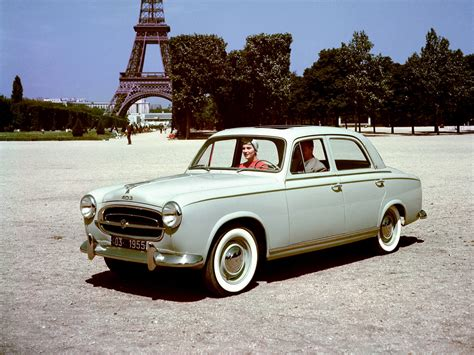 1955 Peugeot 403 Eiffel Tower Retro Wallpaper