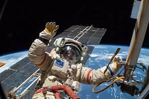 Alexander Skvortsov Attired in a Russian Orlan Spacesuit ...
