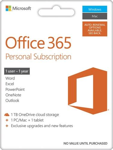 Office 365 Best Buy by Microsoft Office 365 Personal 1 Mac Or Pc 1 Or