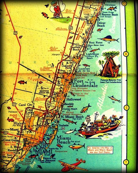 map art east coast florida photograph print  vintage