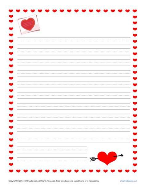 valentines day writing paper  kids  printable