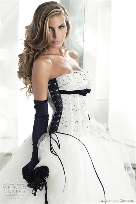 white wedding dress with black lace corset