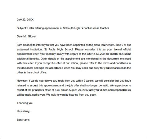 sample appointment letter    documents