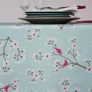 Nappe Ovale Enduite : nappe enduite ronde ou ovale cerisier bleu turquoise ~ Teatrodelosmanantiales.com Idées de Décoration