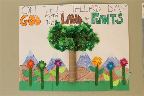 preschool creation crafts creation day 3 classroom poster god made the land and 512