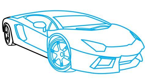 car lamborghini drawing how to draw lamborghini aventador a car easy step by