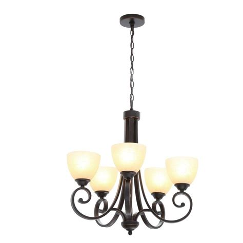 chandeliers at home depot hton bay 5 light rubbed bronze chandelier