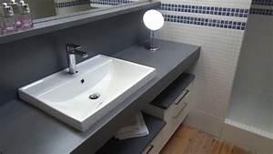 renovation d39une salle de bain avec meuble en beton cire With beton cire dans une salle de bain