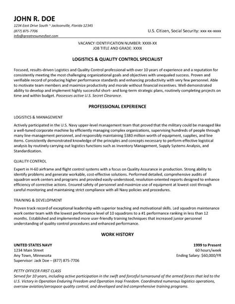 logistics and quality specialist resume