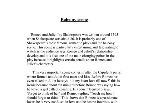 balcony scene analysis gcse english marked  teacherscom