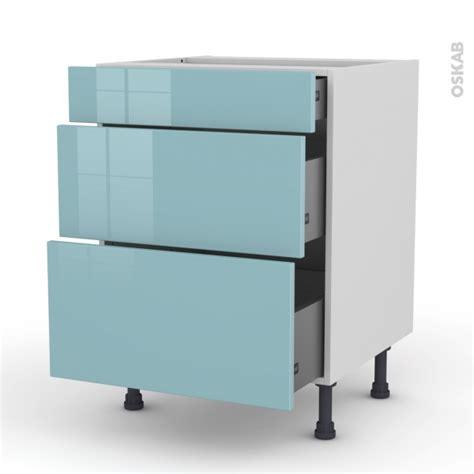 meuble de cuisine brut à peindre meuble de cuisine casserolier keria bleu 3 tiroirs l60 x