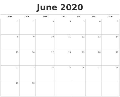 june blank monthly calendar