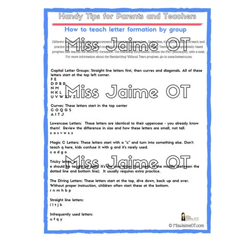 teach handwriting  groups  letter formation