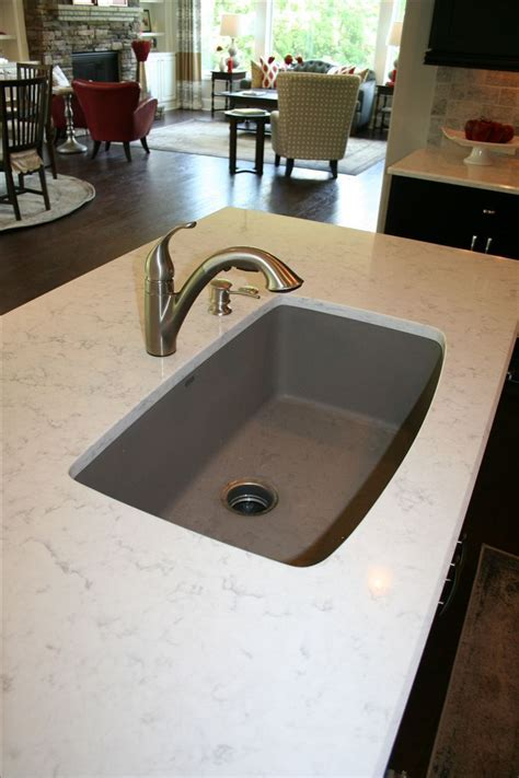 Quartz countertop with single bowl Blanco Truffle sink and