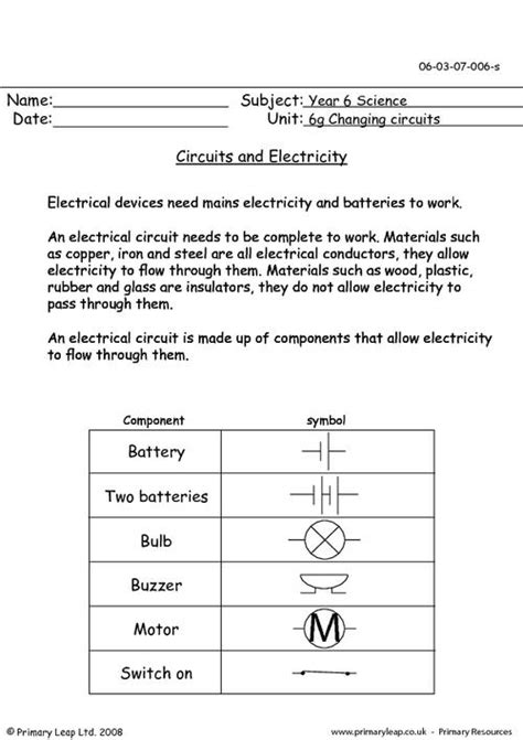 science worksheets for grade 6 of electricity class 6