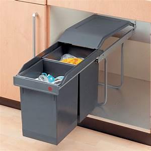 Poubelle Cuisine Sous Evier : poubelle coulissante en plastique 2 x 15 l salle de montre ~ Carolinahurricanesstore.com Idées de Décoration