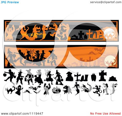 .banners svg files also makes great vector design elements for web and graphic design projects and are compatible with adobe illustrator, coreldraw, inkscape, and other vector programs that open. Cartoon Of Halloween Silhouettes And Website Banners ...