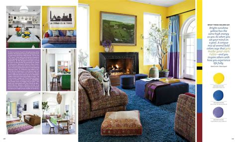 eclectic style living room  cobalt blue  lemon yellow