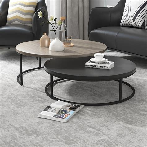 Whether you are looking for a modern rectangular, square, round or an oval extendable dining table set, be sure to choose one that matches the event and desired ambience. Modern Round Nesting Coffee Table 2-Piece Extendable Gray & Black Living Room Accent Table in ...