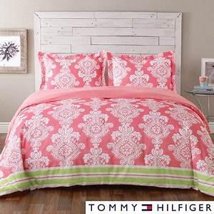 TOMMY HILFIGER Bright Pink & Green Damask 3p FORTER SET